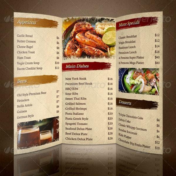 luxurious tri fold restaurant brochure example
