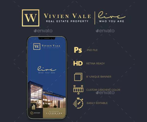 luxury real estate instagram banner template