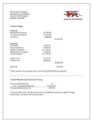 minimal college sports club budget template
