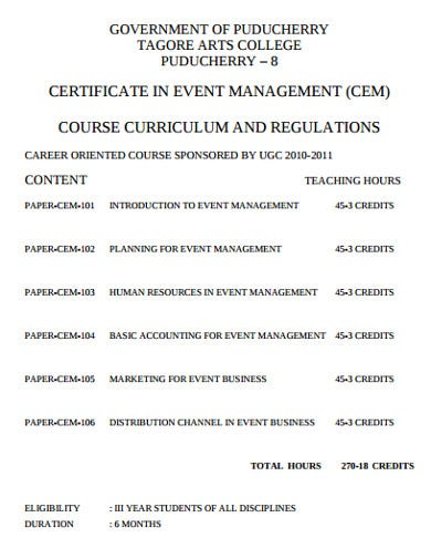 management event planning certificate