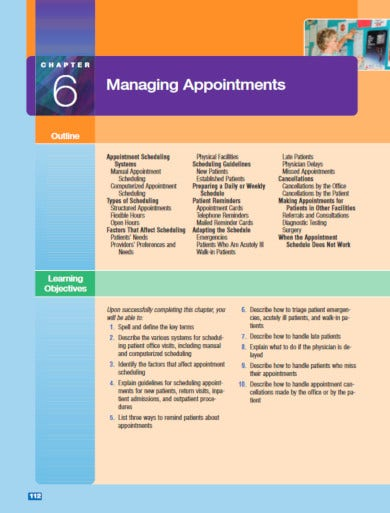 manual appointment sheet template