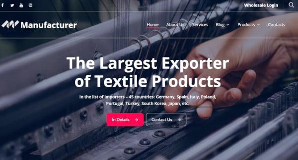 manufacturer wp custom wordpress theme