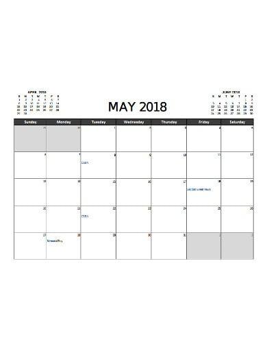 marketind calendar sample
