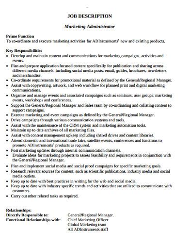 marketing administrator job discription