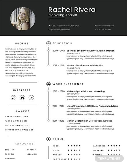 marketing analyst resume template