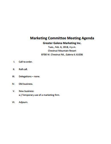 marketing committee meeting agenda
