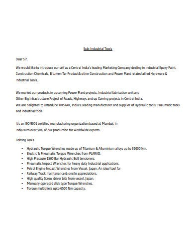 marketing company introduction letter