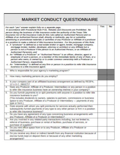 marketing conduct questionnnaire example
