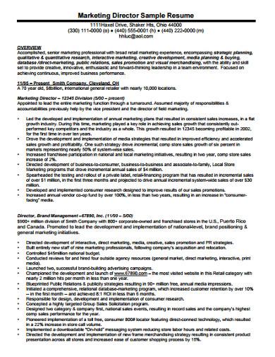 marketing director resume
