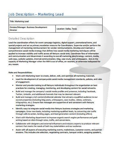 marketing lead job description