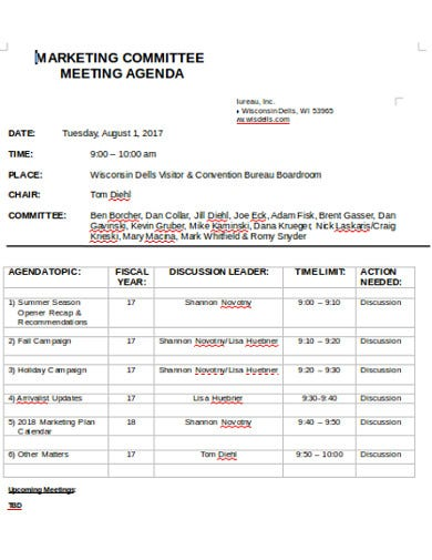 marketing meeting agenda format