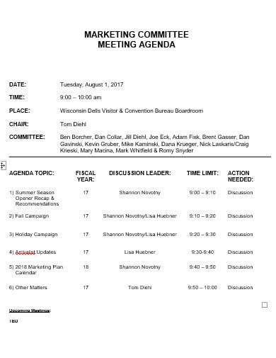 marketing meeting agenda template in doc