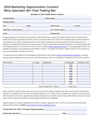 marketing opportunities contract template