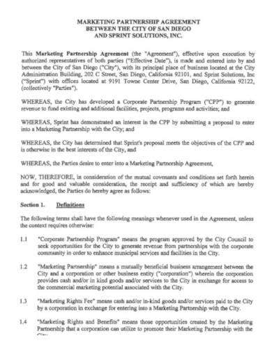 marketing partnership agreement sample
