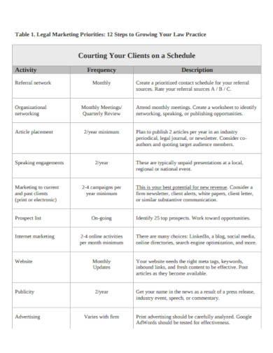 marketing plan schedule example