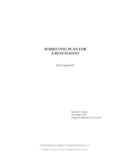 marketing plan for restaurant