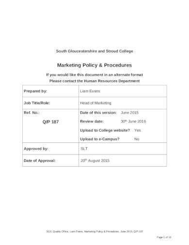 marketing policy template