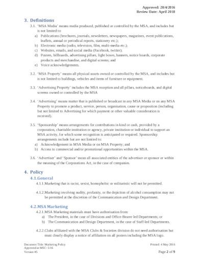 marketing policy in pdf