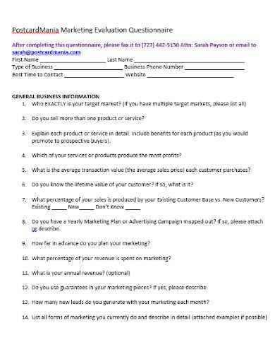 marketing questionnaire template in doc