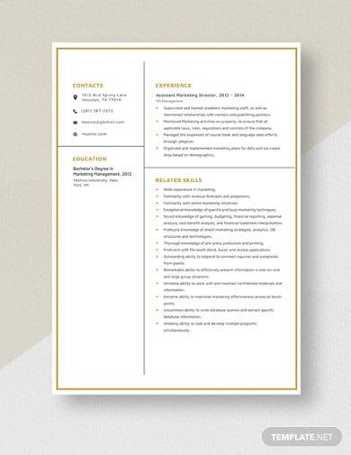 marketing resume template