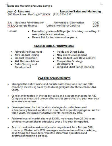 marketing sales resume template