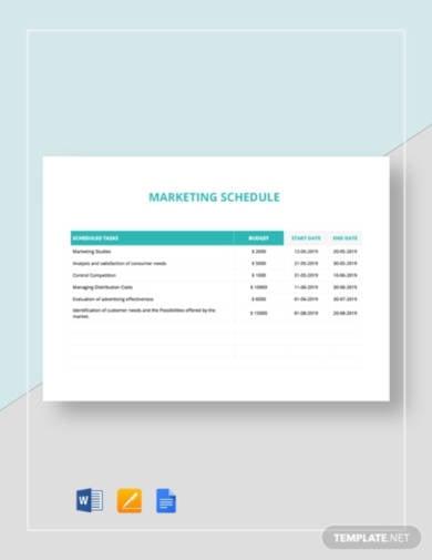 marketing schedule template