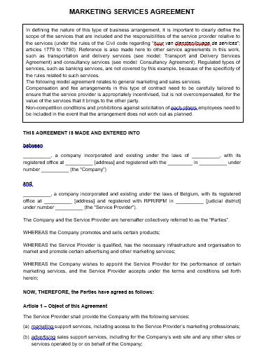 marketing services agreement template in doc