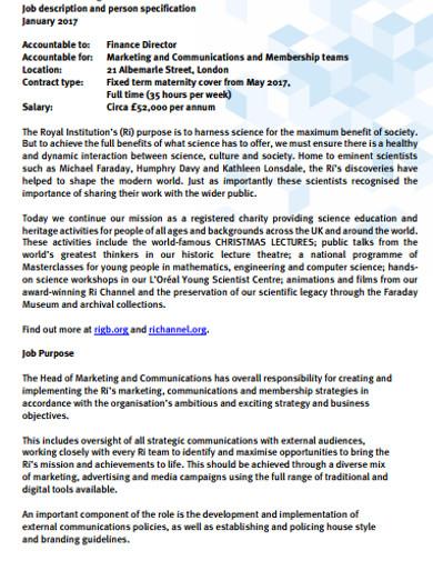 marketing and communications job description