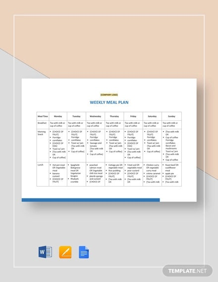 15 Meal Planning Templates Word Excel Pdf Free Premium