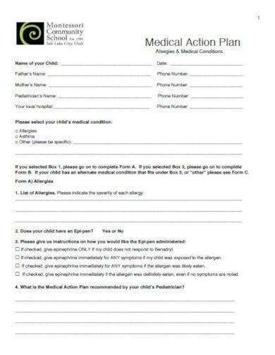 medical action plan for montessori