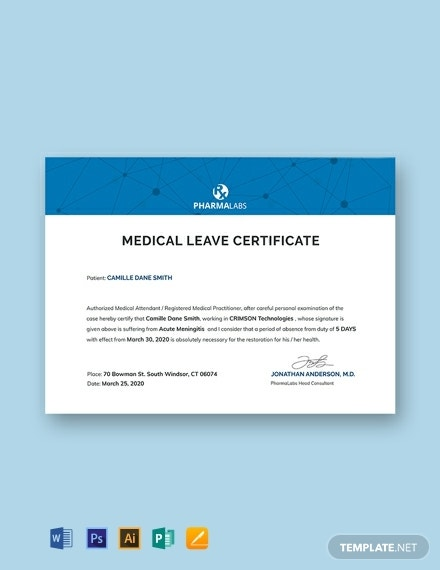 medical certificate for casual leave template