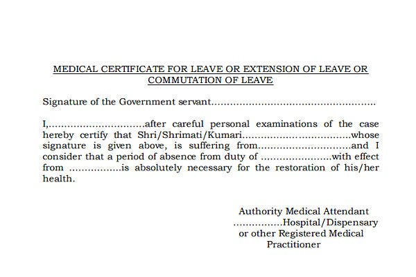 medical certificate for leave extension template