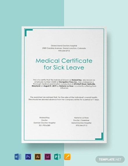 medical certificate for sick leave template