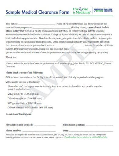 medical clearance letter for fitness facilities