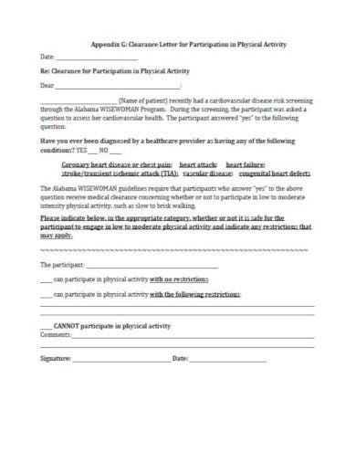 medical clearance letter for physical activity