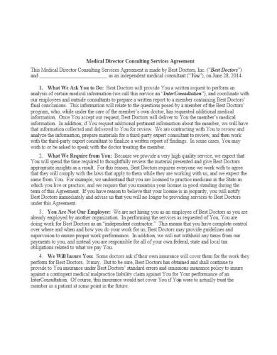 medical consulting services agreement template