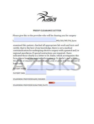 medical pre op clearance letter