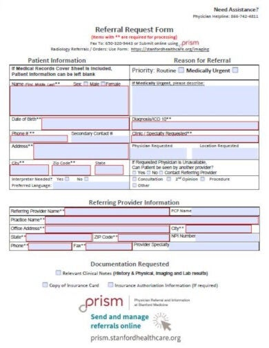 medical referral request form