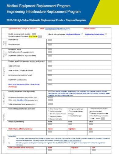 medical replacement program proposal template