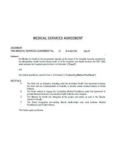 medical service agreement template