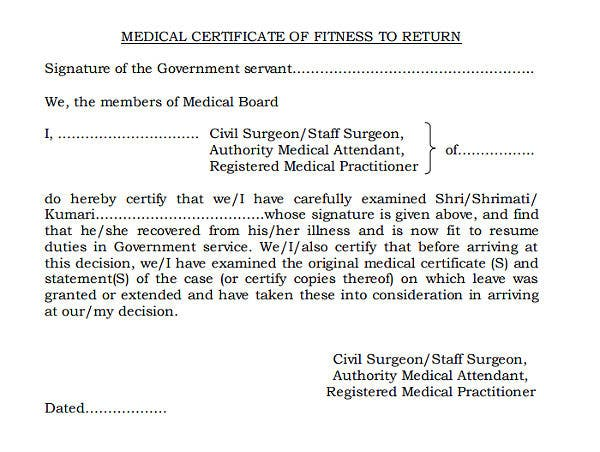medicate certificate of fitness to return