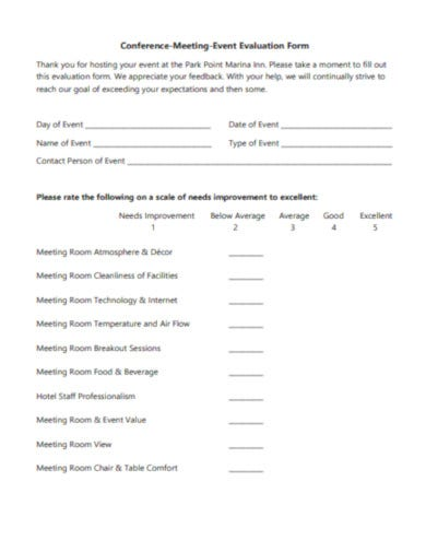 meeting event evaluation form template