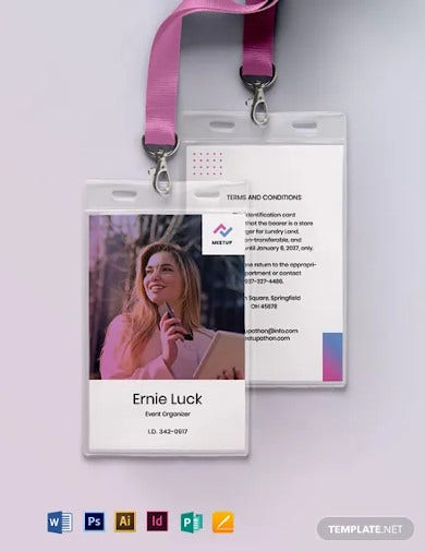 meetup event id card template