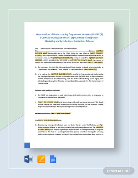 memorandum of understanding format for business