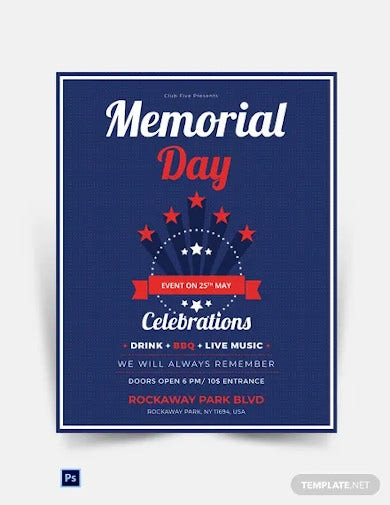 memorial day event poster template