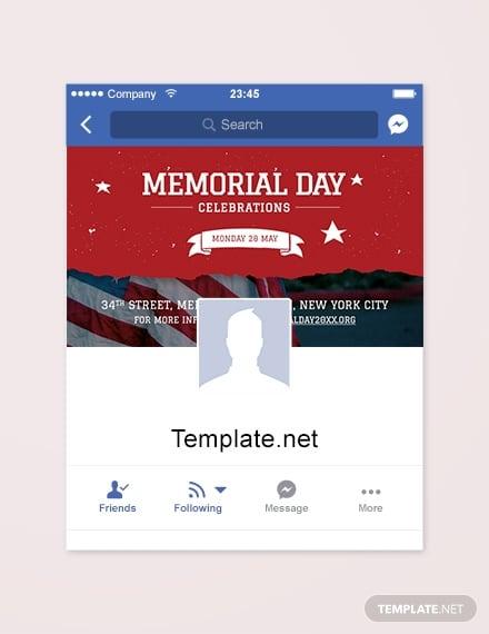 memorial day facebook app cover template