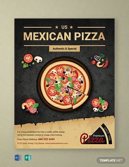 mexican restaurant pizza flyer template