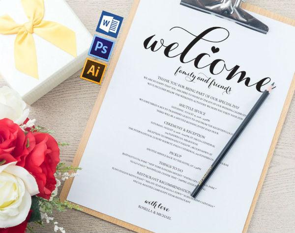 minimalist wedding itinerary template