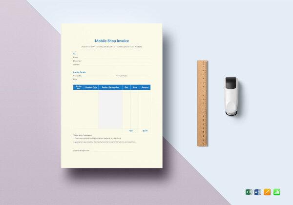 mobile shop invoice template