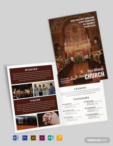 modern church a4 brochure template
